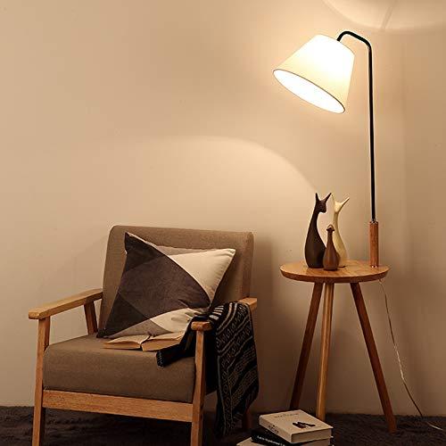 AZYJBF 140cm Unique Floor Lamp & Middle Wood Shelf Industrial Style Home Office Lighting Storage, Tripod Floor Lamp Light E27 Base Bedroom Living Room Fabric Shade Storage Shelf Foot Switch