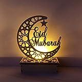 Neue Holz Ramadan Eid Mubarak Mond Sterne Islam Hängen Anhänger Platte Mit LED Lichterketten...