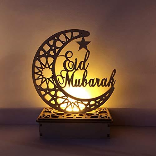 Neue Holz Ramadan Eid Mubarak Mond Sterne Islam Hängen Anhänger Platte Mit LED Lichterketten Ornament Home Party Supplies DIY Geschenk
