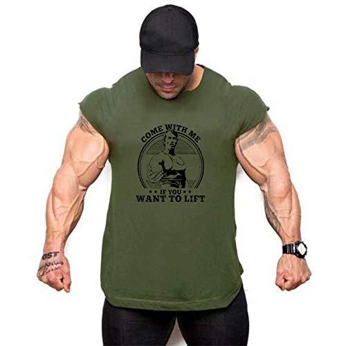 Fitnessvest heren sport fitness vest toptraining lopen mouwloos T-shirt, legergroen zwart printpatroon slim fit casual vest spieren bodybuilding zomer sneldrogend ademend B