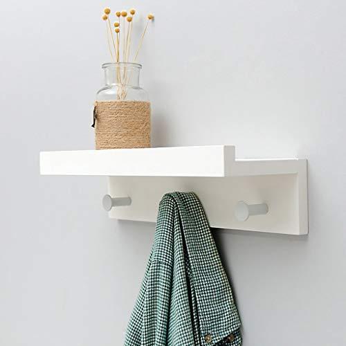 POETRY Bamboe wandkapstok wit wandrek hanger massief hout haak up 22.7 35.5 48,5 61.1 & keer; 8 & keer; 12cm (grootte: 4 haken)