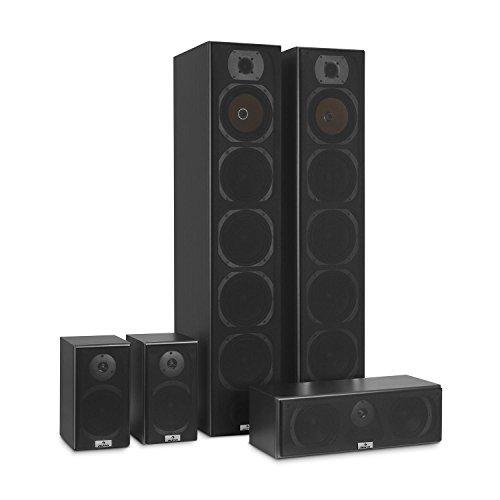 auna V9B Juego de Altavoces - Set 5 Altavoces, Home Cinema, Equipo de Sonido Envolvente, Bassreflex con Cubierta veteada, 400 W Pot. Media, Montaje en Pared, Frecuencia 20 Hz a 20 kHz, Negro
