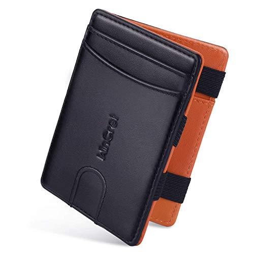 WinCret Geldbeutel Männer Slim Magic Wallet - Leder Klein Geldbörse Herren mit Reißverschluss-Münzfach - RFID-Schutz Kleines Portemonnaie Mini Portmonaise (Schwarz, Small)