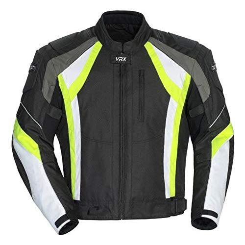 Cortech VRX Men's Textile Armored Motorcycle Jacket - Black/Hi-Viz Yellow/White, X-Large