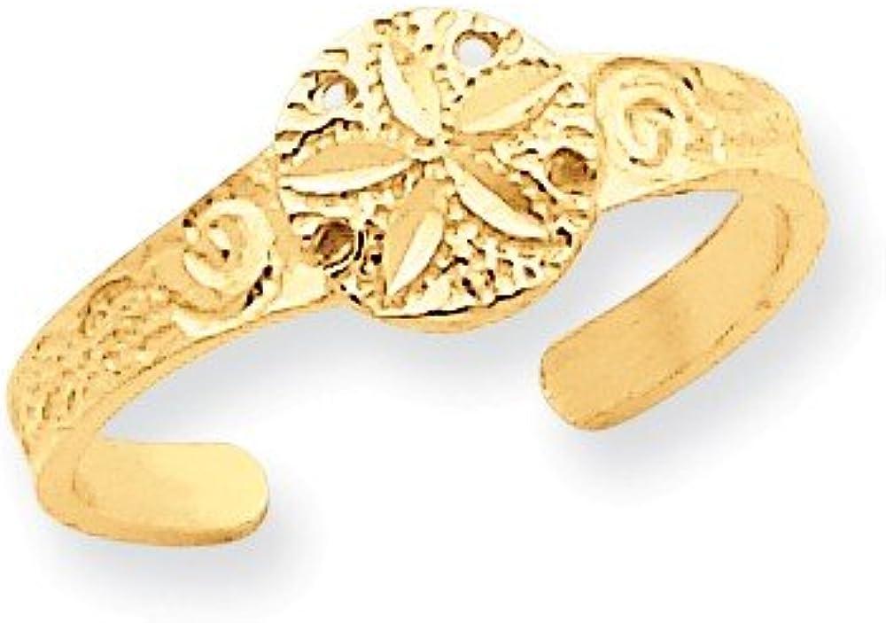 Genuine 14k Yellow Gold Diamond-cut Sand Dollar Toe Ring Size