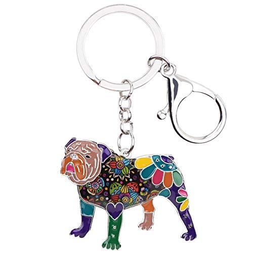 WEVENI Schlüsselanhänger, Emaille-Legierung, Motiv: Englische Bulldogge, Bulldogge, Bulldogge, Terrier, modischer Schmuck, für Frauen, Taschenanhänger