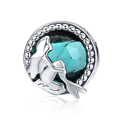 Mermaid Underwater Hot Sale 925 Sterling Silver Mermaid's Missing Round Charms Beads fit Women Bracelets Necklaces DIY Jewellery Making