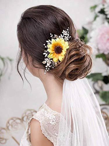 Barogirl Bridal Sunflower Hair Comb Clip Crystal Bride Gold Wedding Hair Accessories for Women (Silver)