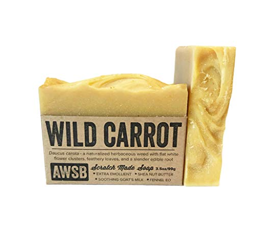 Wild Carrot Bar Soap with Moisturizing Goats Milk, All Natural with Organic Ingredients, Handmade by A Wild Soap Bar