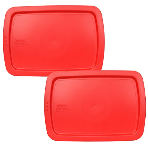 Pyrex C-233-PC Red Oblong Easy Grab Lid for Glass Baking Dish (Dish Sold Separately) - 2 Pack