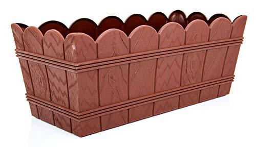POKM Toolsmarket GmbH Jardinière de balcon Elba sans soucoupe Marron 40 cm