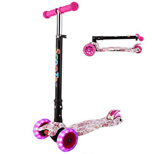 WeSkate Kinderroller Mädchen Jungen Kick Scooter Kinder 3 Rad Roller Kleinkind mit Graffiti Deck Einstellbar Höhe Klappbar faltbar System Roller Dreirad ab 3-12 Jahre