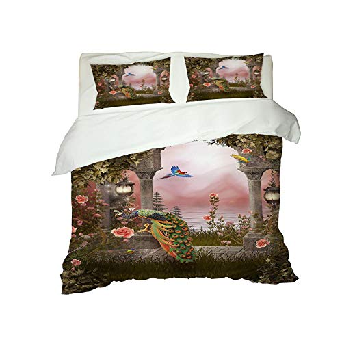 KLBPL Bedding Duvet Cover Print Quilt Set Animal Peacock Rose 140X200Cm/55X78.5 Inches Microfiber Polyester Comforter Cover With 2 Pillow Shams, 3 Pieces, Zipper