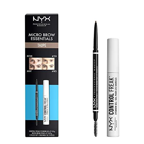 NYX Professional Makeup Kit Dúo Brow Essentials Micro Brow Pencil & Control Freak Clear Brow Gel, Tono: Taupe