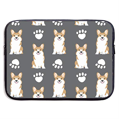 Gdiandianwang Corgi Corgis Dog Dog Paw Cute Charcoal Laptop Bags Compatible 13-15 Inch MacBook Pro,Ultrabook Netbook Tablet,Pringting Protective Briefcase Carrying Handbag Sleeve Case Cover