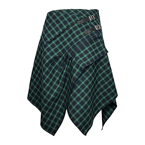 The Celtic Ranch Tartan Skirt, Women's Plaid Skirt with Pockets, Ladies' Traditional Scottish Skirt (Celtic Blue/Green, Medium)