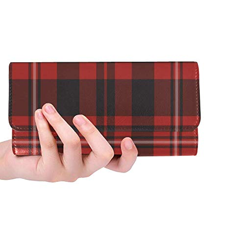 InterestPrint Custom Womens Wallets Red Tartan Pattern Trifold Wallet Long Clutch Purse Great Gift for Girl