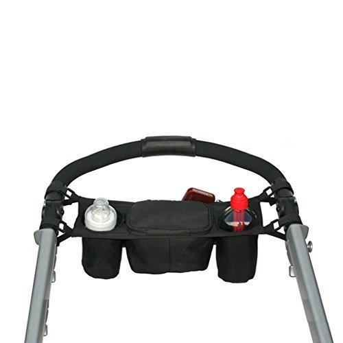 FakeFace Borsa portaoggetti universale per passeggino, con portabottiglie nero