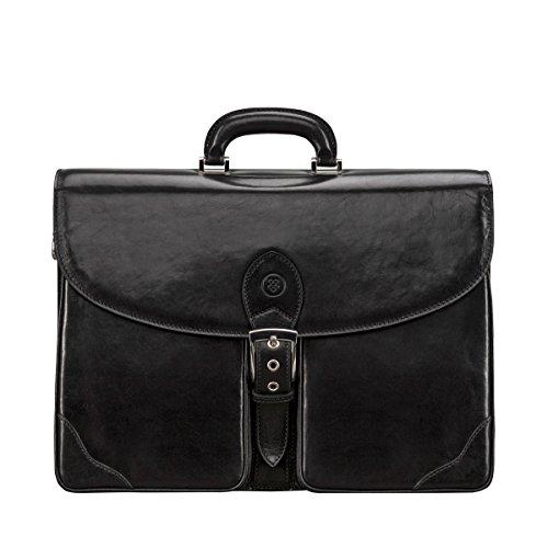 Maxwell Scott® Lujoso maletín de negocios con tres secciones en cuero Italiano color negro (Tomacelli3)