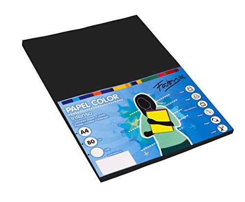 Pack 100 Hojas Color Negro Tamaño A4 80g