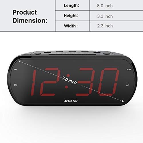 ANJANK 7 Large LED Display Digital Radio Alarm Clock,Easy to Read,6 Level Dimmer,USB Charger,FM Radio with Sleep Timer,Adjustable Volume,Battery Backup,Snooze,Alarm Clocks for Bedroom,Bedside,Desk
