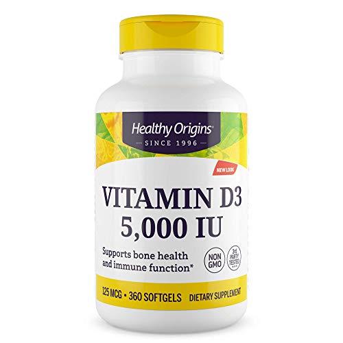 Healthy Origins Vitamin D3 Gels 5, 000 IU 360 capsules