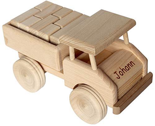 Geschenkissimo Holz LKW Kinder - Holzauto mit Namen Gravur - Spielzeug Lastwagen robust & langlebig - Holzspielzeug für Kleinkinder - Bauklötze optional - Kindergeschenk, Weinachtgeschenk