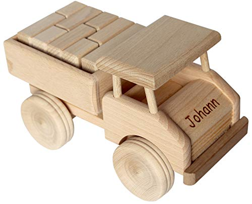 Geschenkissimo Holz LKW Kinder - Holzauto mit Namen Gravur - Spielzeug Lastwagen robust & langlebig -...