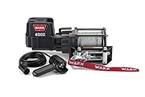 """WARN 94000 4000 DC Series 12V Electric Winch with Steel Cable Rope: 7/32"""" Diameter x 43' Length, 2 Ton (4,000 lb) Capacity"""