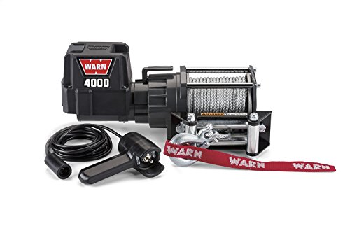 "WARN 94000 4000 DC Series 12V Electric Winch with Steel Cable Rope: 7/32"" Diameter x 43' Length, 2 Ton (4,000 lb) Capacity"