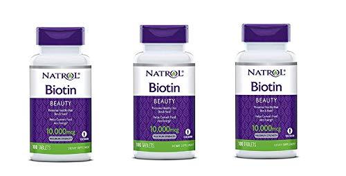 Natrol Biotin, Beauty, 10,000 mcg Maximum Strength Tablets 100 ea (Pack of 3)