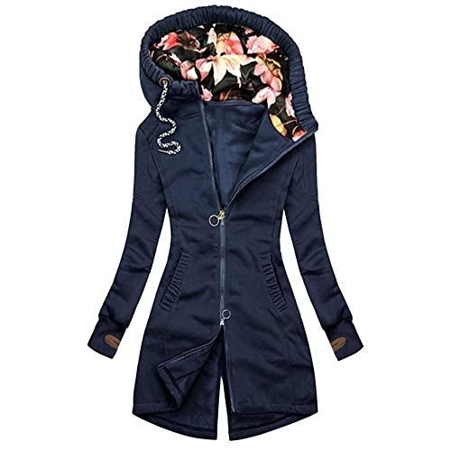 Chaqueta deportiva con cremallera de bolsillo para mujer con estampado floral, azul, XXL