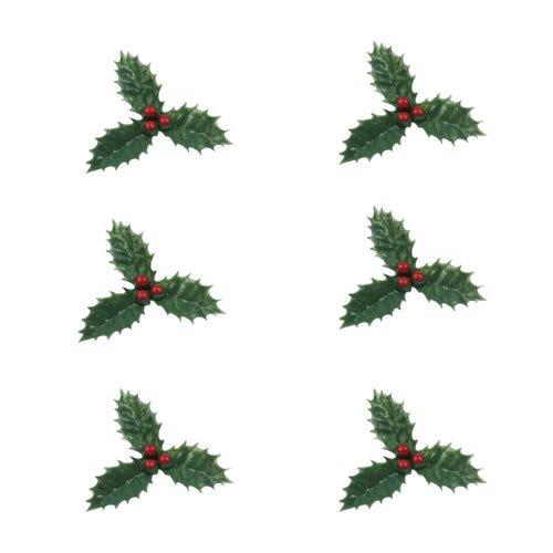 Anniversary House : Décorations de gâteau de Noël : 6 morceaux de houx avec des baies