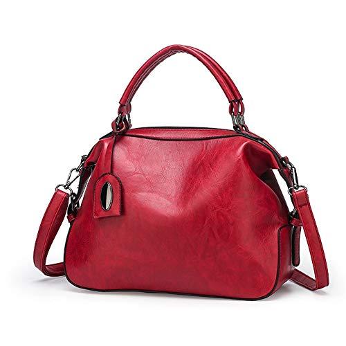 Handbag oil wax leather shoulder bag fashion lady crossbody bag Vintage Handbag (Color : Red)