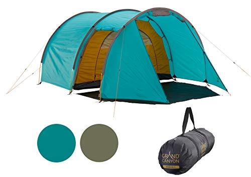 Grand Canyon Robson 3 - Zelt für 3 Personen, wasserdicht mit Vorzelt, großer Stauraum, 2 Eingänge, Ultra-leicht, kleines Packmaß - Tunnelzelt für Trekking, Camping, Festival - Blue Grass (Blau)
