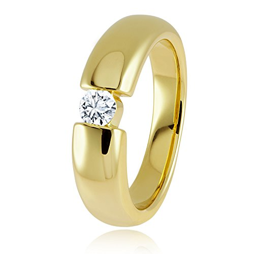 Diamond Line Damen - Ring 585er Gold 1 Diamant ca. 0,25 ct., gelbgold
