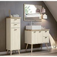 Miroytengo Conjunto mobiliario baño Vintage Drya Muebles Aseo Pino Cambrian con Espejo y Lavabo cerámico