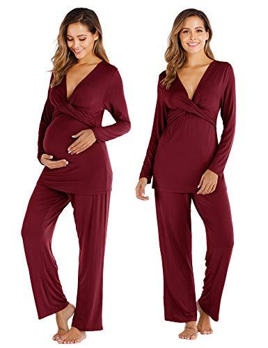 Aranmei Pijama de Lactancia Invierno Ropa Premamá Embarazadas Algodón Mangas Largas Conjunto de Maternidad