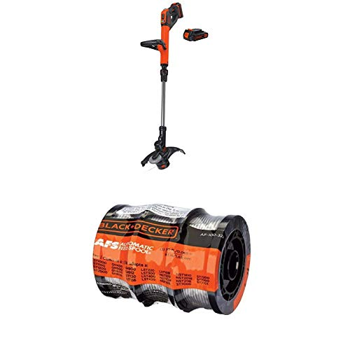 """BLACK+DECKER LSTE525 20V MAX Lithium Easy Feed String Trimmer/Edger with 2Batteries WITH BLACK+DECKER AF-100-3ZP 30ft 0.065"""" Line String Trimmer Replacement Spool, 3-Pack"""