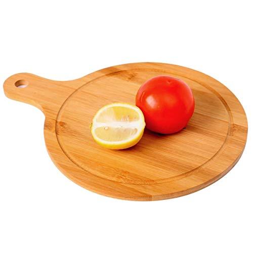 Tabla de cortar de bambú de 25 cm, tabla de pizza de queso, tabla de cortar de carne, verduras y frutas, tabla de cortar redonda de madera para servir/tabla antipasti