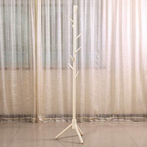CKH Fashion Hall - Perchero de pie para entrada de ropa, sombreros, bufandas, barras, verticales, perchero creativo de madera maciza (color blanco)