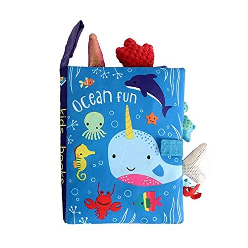 動物 布絵本 5種 出産祝い 知育玩具 絵本 0歳 ベビー おもちゃ 男の子 女の子 (オーシャン)