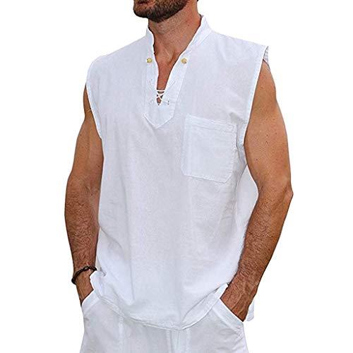 Tyoby Herren Sommer Mode Slim Casual Multicolor Baumwolle Leinen Ärmellos Revers Shirt Vintage Klassisch(Weiß,M)