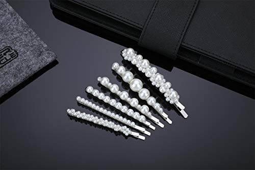 Silver Hair Clips Barrettes For Women Girls Prom Pearl Decorative Bobby Pins Cute For Bridal Ladies Wedding Hair Accessories Styling Butterfly Hair Clamps For Birthday Daily Wearing Party Set 6