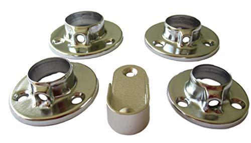 Schmitt-Beschläge 4Stk. Halterung – Rohrhalter für 16mm 19mm 22mm 25mm Rohr oder 30x15mm Oval/U-Form – Wandanschluss Flansch für Schrankrohr Stahlrohr Kleiderstange (4X 25mm Rund)