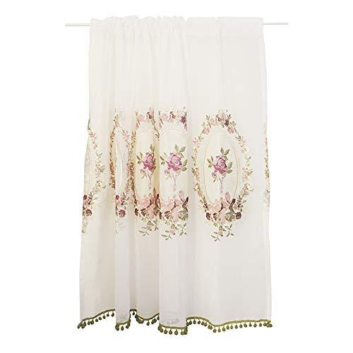 ALG Blumenspitze transparenter Halbvorhang, Voile-Vorhänge mit Stangentaschenfenster, Rosenstickerei, hochwertiges Polyestermaterial, geeignet für Wohnzimmer, Schlafzimmer, Familie