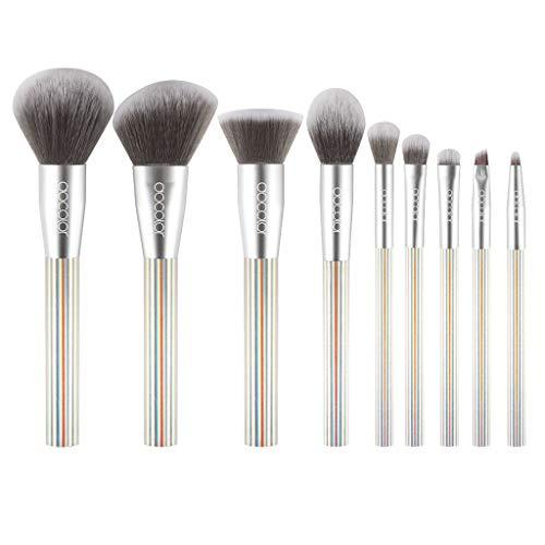 HLIYY Lot de 9 Pinceaux de maquillage Professionnels Set avec Poils Synthétiques pour Makeup Cosmétiques pour le visage et les yeux Premium Coloré Fondation Mélange Blush Yeux Visage