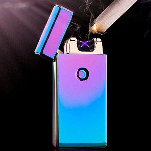 SIAM EXPRESS Arc Feuerzeug Plasma Elektronische Dual Arc Flammenlose winddicht USB wiederaufladbar Geschenk-Box & USB-Kabel Rainbow (Mehrfarbig)
