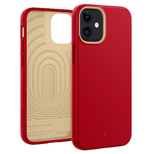Caseology iPhone 12 mini ケース TPU シリコン 質感 耐久性 サラサラ 耐衝撃 指紋防止 iPhone12mini カバー ナノ・ポップ (レッド)
