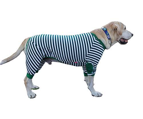 BT Bear - Mono grande para perro con cremallera transpirable y suave algodón a rayas para perros medianos y grandes